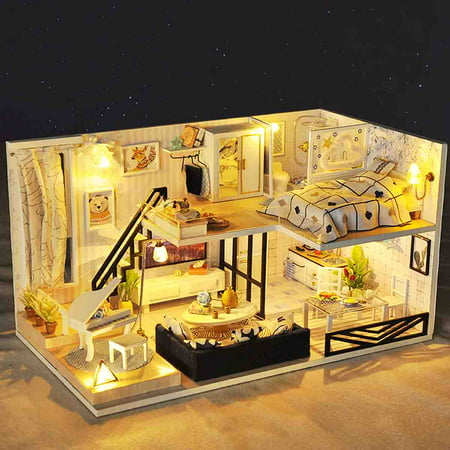 Doll House Miniature DIY Handcraft 3D Wooden Dollhouse Kit with Furniture LED Light House Room Model Doll Play Set Kids Grils Boys Toy ()