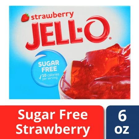 (4 Pack) Jell-O Strawberry Sugar-Free Gelatin, 0.6 oz Box