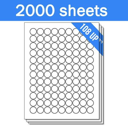 OfficeSmartLabels 3/4 inch Round Labels for Laser Inkjet ( 108 Labels Per Sheet, White, 150 Sheets )
