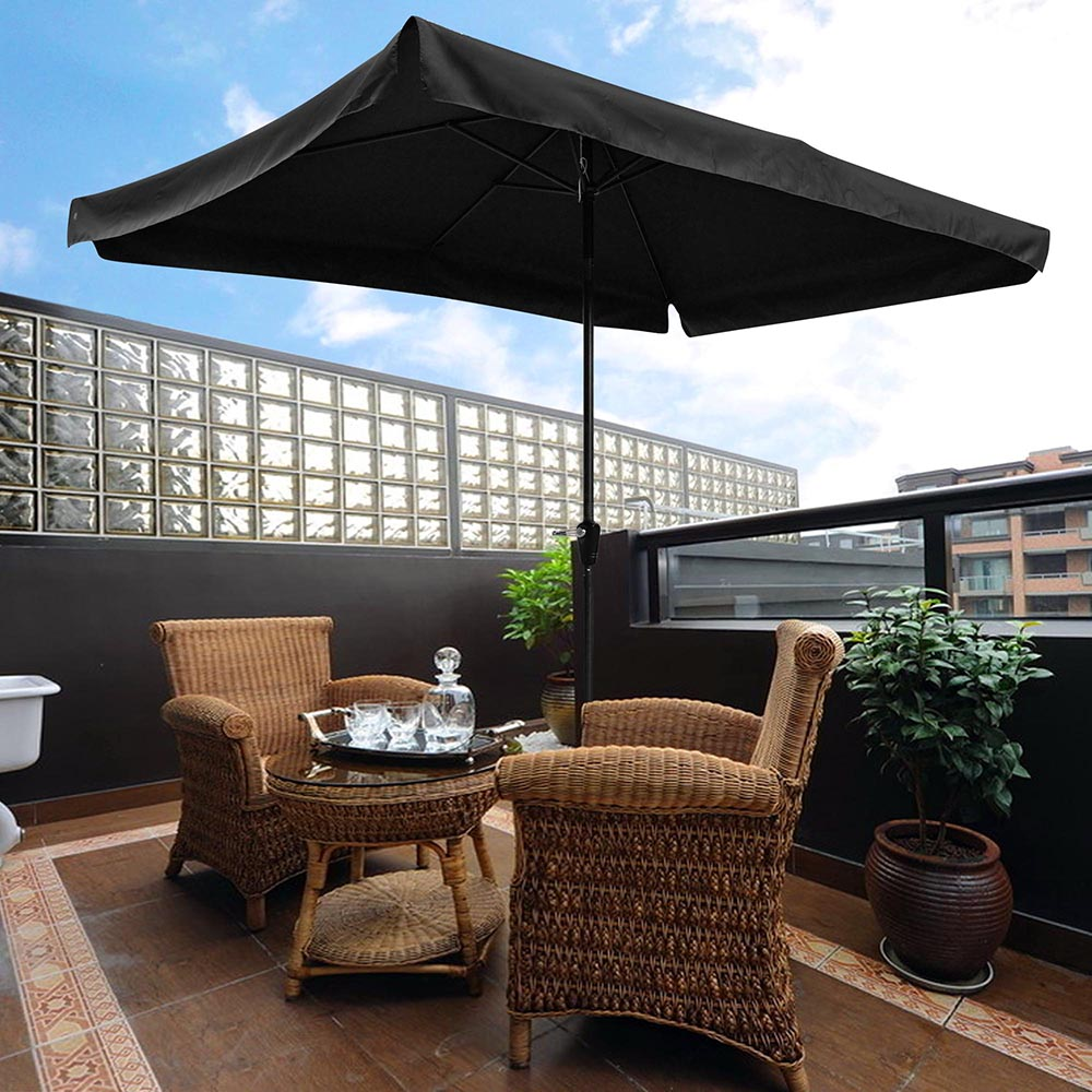 Yescom 10x6.5ft (2x3m) Rectangle Aluminum Outdoor Patio Umbrella w  Valance Sunshade Crank... by Yescom