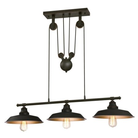 Hunter Oil Rubbed Lighting - Westinghouse 6332500 Iron Hill Indoor Pulley Pendant, Oil Rubbed Finish with Highlights and Metallic Bronze Interior, Three Light Island