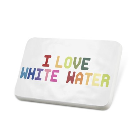 Porcelein Pin I Love White Water,Colorful Lapel Badge – NEONBLOND
