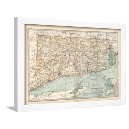 - Plate 68. Map of Connecticut and Rhode Island Framed Print Wall Art By Encyclopaedia Britannica