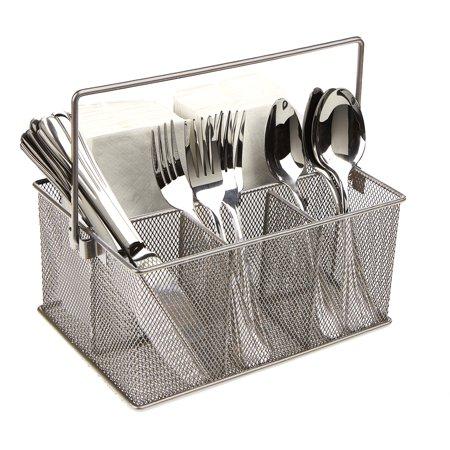 Mind Reader Storage Basket Organizer, Utensil Holder, Forks, Spoons, Knives, Napkins, Perfect for Desk Supplies, Pencil, Pens, Staples, Silver ()