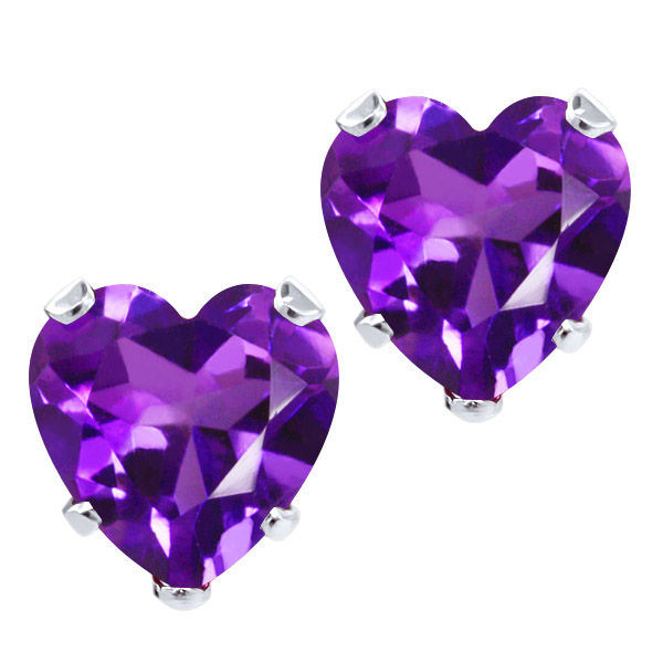 3.20 Ct Heart Shape 8mm Purple Amethyst 925 Sterling Silver Stud Earrings