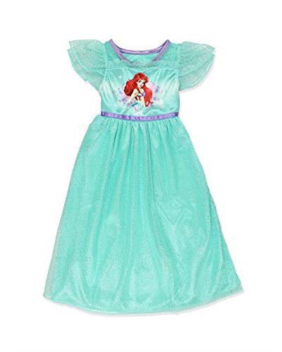 The Little Mermaid Ariel Girls Fantasy Gown Nightgown Pajamas (Toddler/Little Kid/Big Kid), Green, Size: 4 - image 2 de 4
