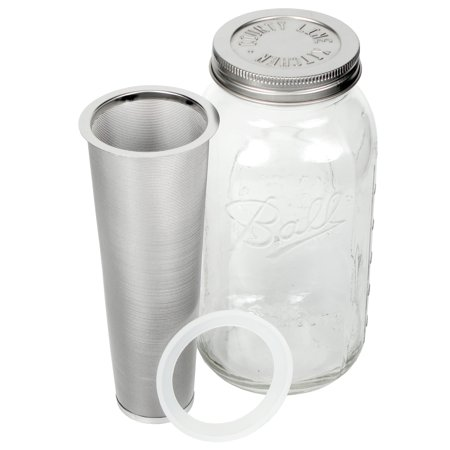 County Line Kitchen Mason Jar Cold Brew Coffee Maker, 2 Quart, with Stainless Steel