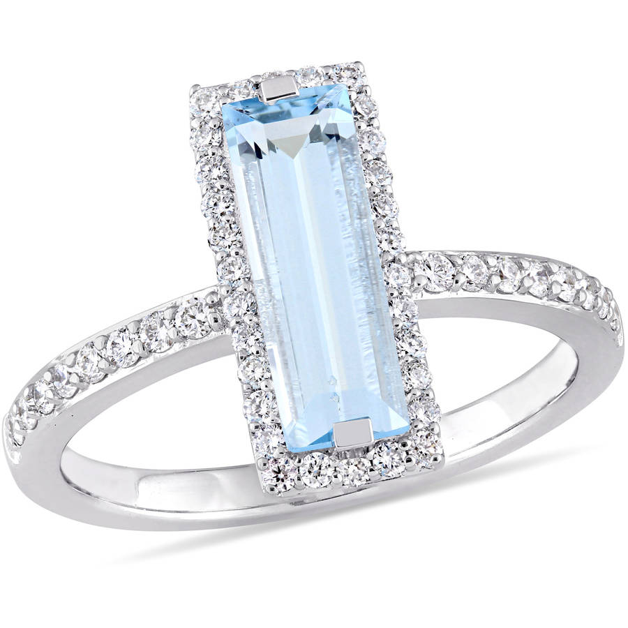 Tangelo 1-5 8 Carat T.G.W. Sky Blue Topaz and 1 3 Carat T.W. Diamond 14kt White Gold Baguette Ring by Tangelo