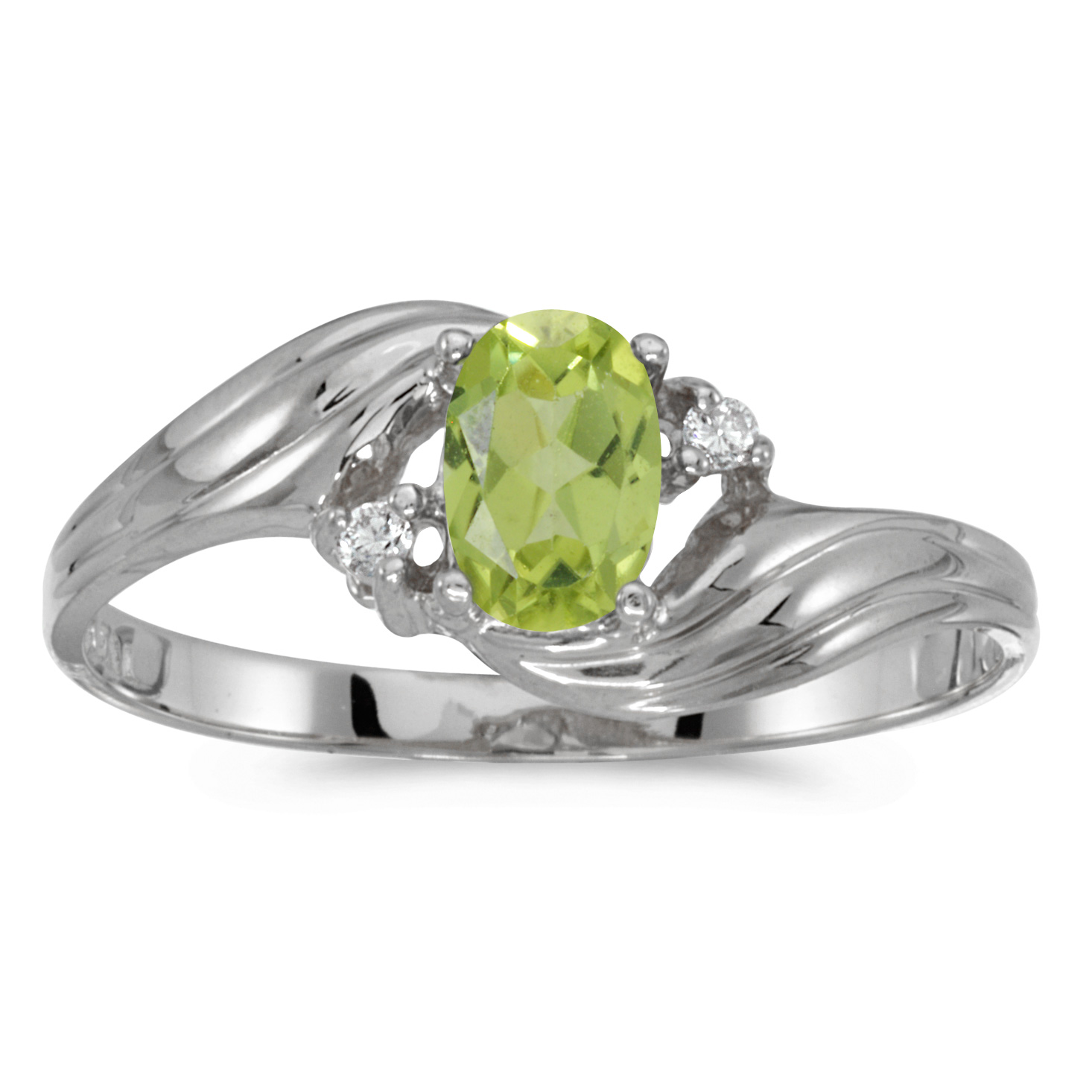 14k White Gold Oval Peridot And Diamond Ring by