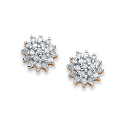 3/8 TCW Diamond Cluster Stud Earrings in 10k Yellow Gold (10k Gold Cluster Earrings)