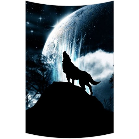 """GCKG Wolf Howl Wall Art Tapestries Home Decor Wall Hanging Tapestry Size 60""""x90"""""""