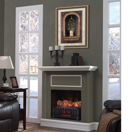 Caesar Fireplace FP201R-P Stove Adjustable Electric Log Set Heater with Realistic Ember Bed 1500W