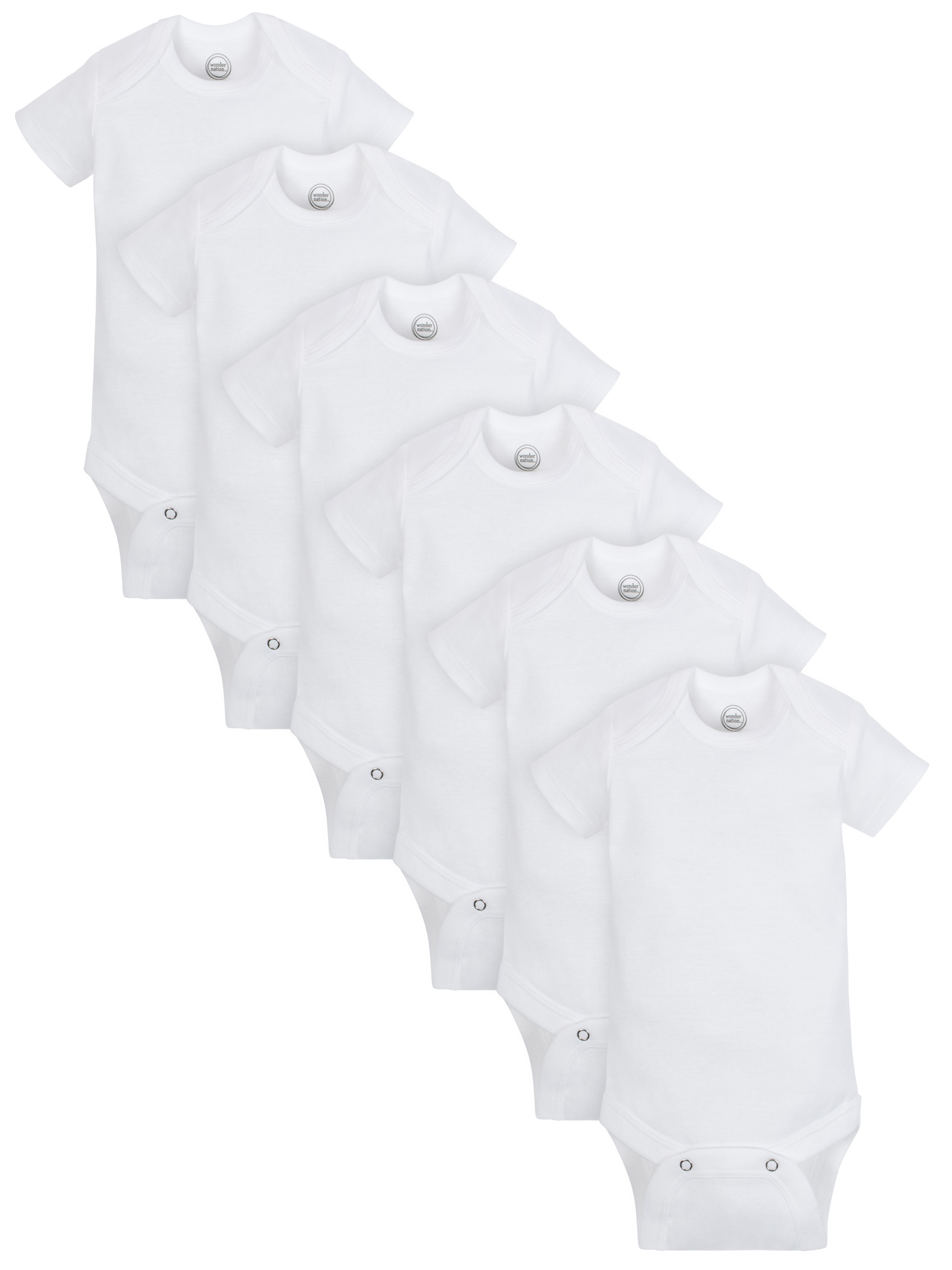 Wonder Nation Short Sleeve White Bodysuits, 6pk (Baby Boys or Baby Girls, Unisex)