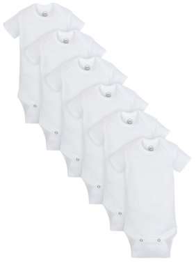 Wonder Nation Short Sleeve White Bodysuits, 6pk (Baby Boys or Baby Girls, Unisex)