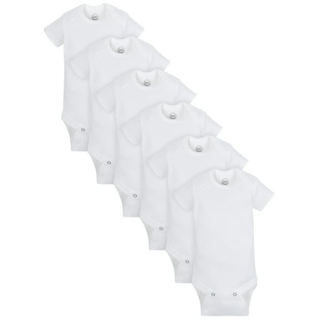 Short Sleeve White Bodysuits, 6pk (baby boys or baby girls unisex)