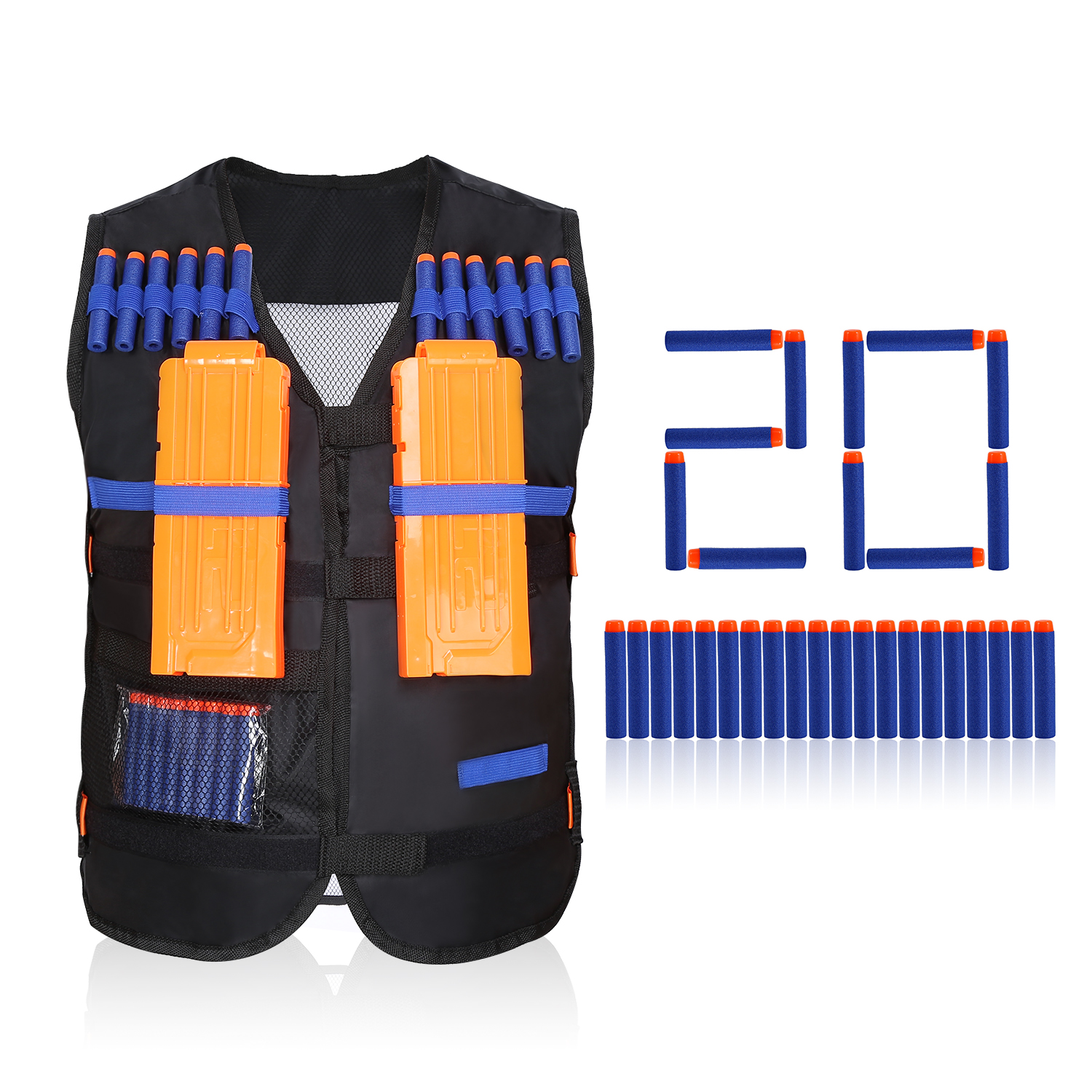 Kids Elite Tactical Vest with 20 Pcs Soft Foam Darts(Not Including 2 Clips) by