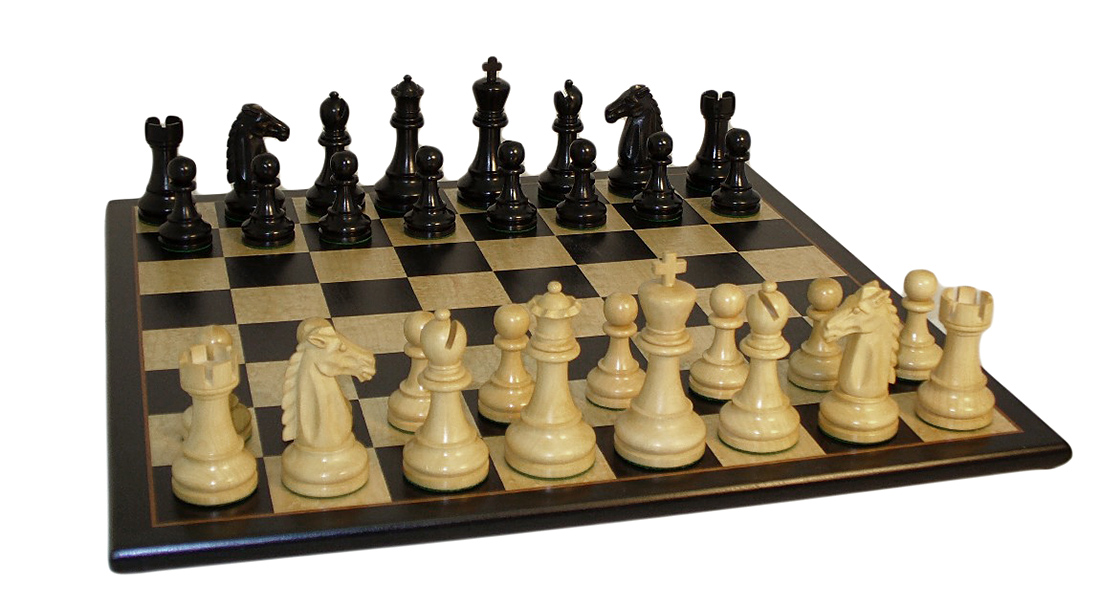 Black Mustang Chess Set With Black Birdseye Board by World Wise Imports