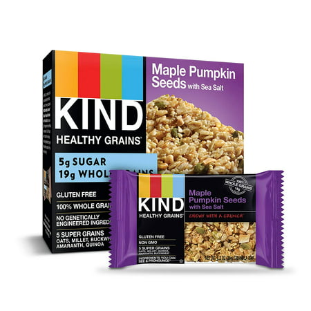 KIND Healthy Grains Granola Bars, Maple Pumpkin Seeds with Sea Salt, Gluten Free - 1.4oz, 5 Snack Bars