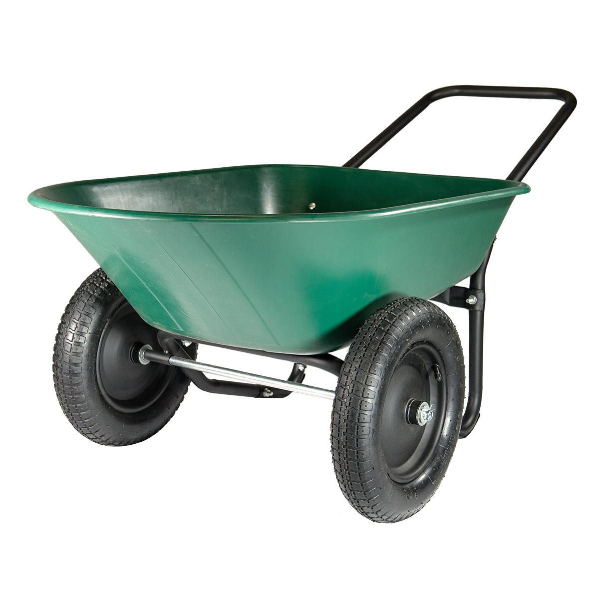Marathon 70007 5 Cubic Ft Green/Black Poly Wheelbarrow Yard Rover