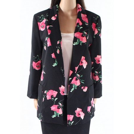 Nine West Womens Small Floral Print Open Front Blazer