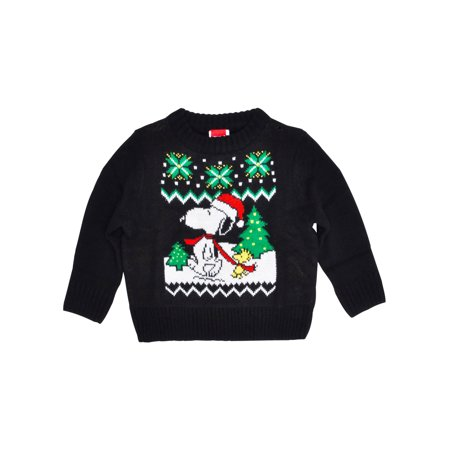 Peanuts Toddler Boys Snoopy Woodstock Knitted Christmas Sweater