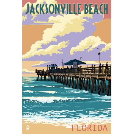 Jacksonville Beach, Florida - Pier and Sunset Print Wall Art By Lantern Press (Halloween Jacksonville Florida)