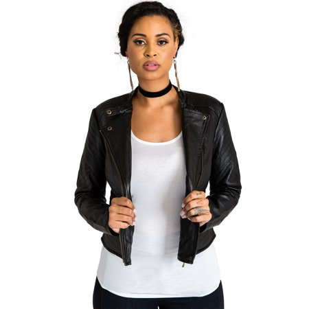 Miss Halladay Women's Vegan Leather Quilted Moto Jackets Slant Zipper Front Mandarin Collar