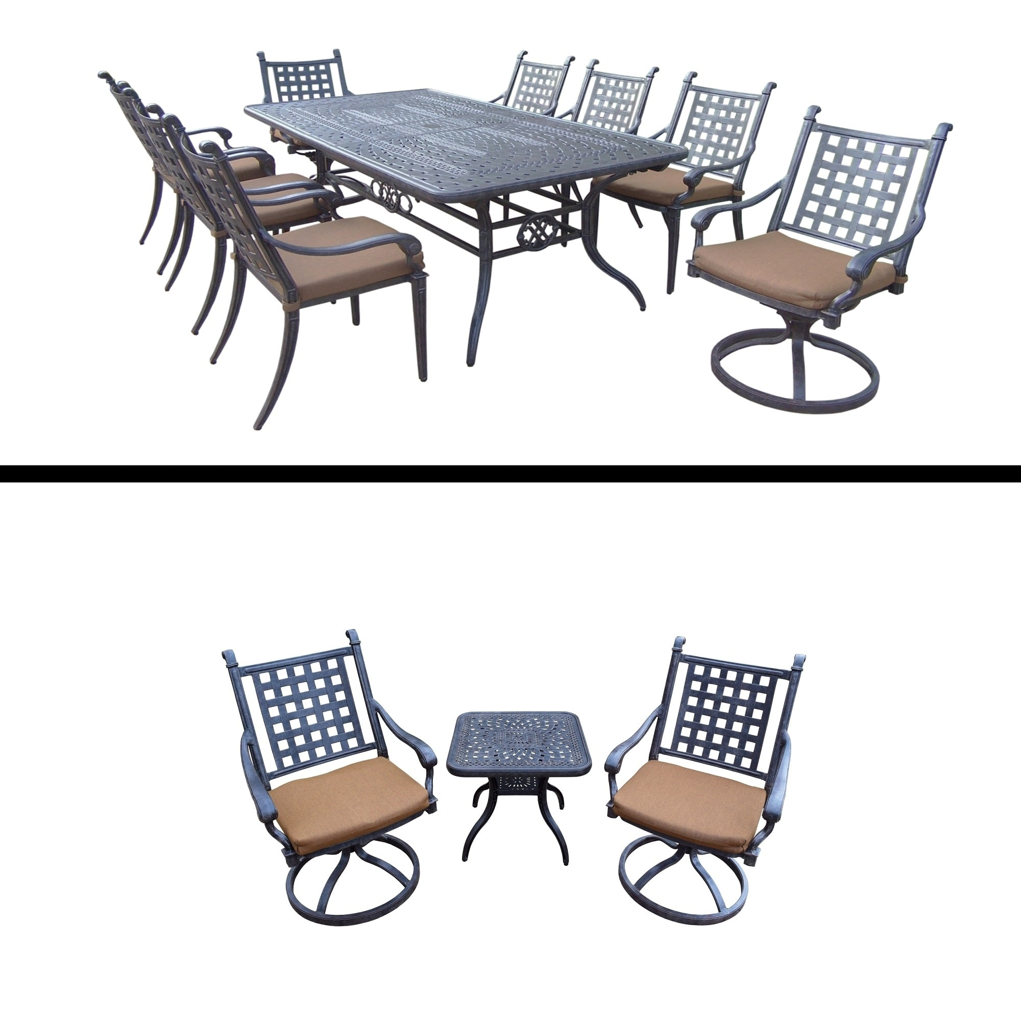 Oakland Living 9 Pc Rectangular Dining Room Set with Table, 6 Chairs, 2 Swivel Rockers, 3 Pc Chat Set with 2 Swivel Rock by Overstock
