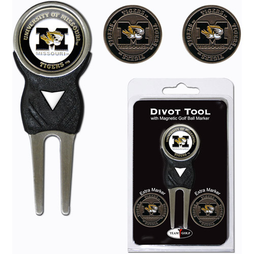Team Golf NCAA Missouri Divot Tool Pack With 3 Golf Ball Markers