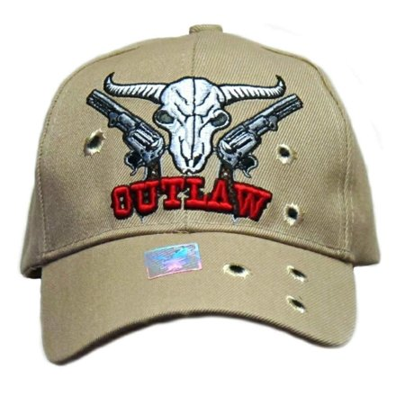 WildBill's Outlaw Deer Skull with Guns and Bullet Holes Embroidered Tan Adjustable Baseball Cap