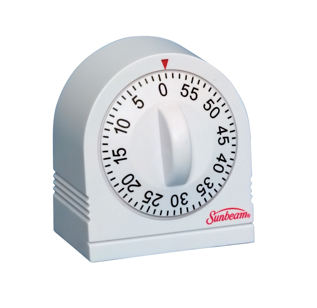 Sunbeam Reliable Long Ring Timer, 60 min, White
