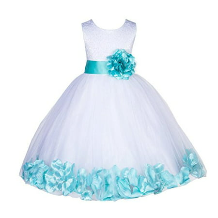 Ekidsbridal White Lace Top Tulle Bodice Floral Petals Flower Girl Dresses Formal Special Occasions Dresses Wedding Pageant Recital Reception Ceremony Graduation Birthday Girl Party Ball Gown