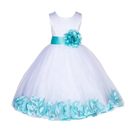Ekidsbridal White Lace Top Tulle Bodice Floral Petals Flower Girl Dresses Formal Special Occasions Dresses Wedding Pageant Recital Reception Ceremony Graduation Birthday Girl Party Ball Gown - Flower Girl Slip