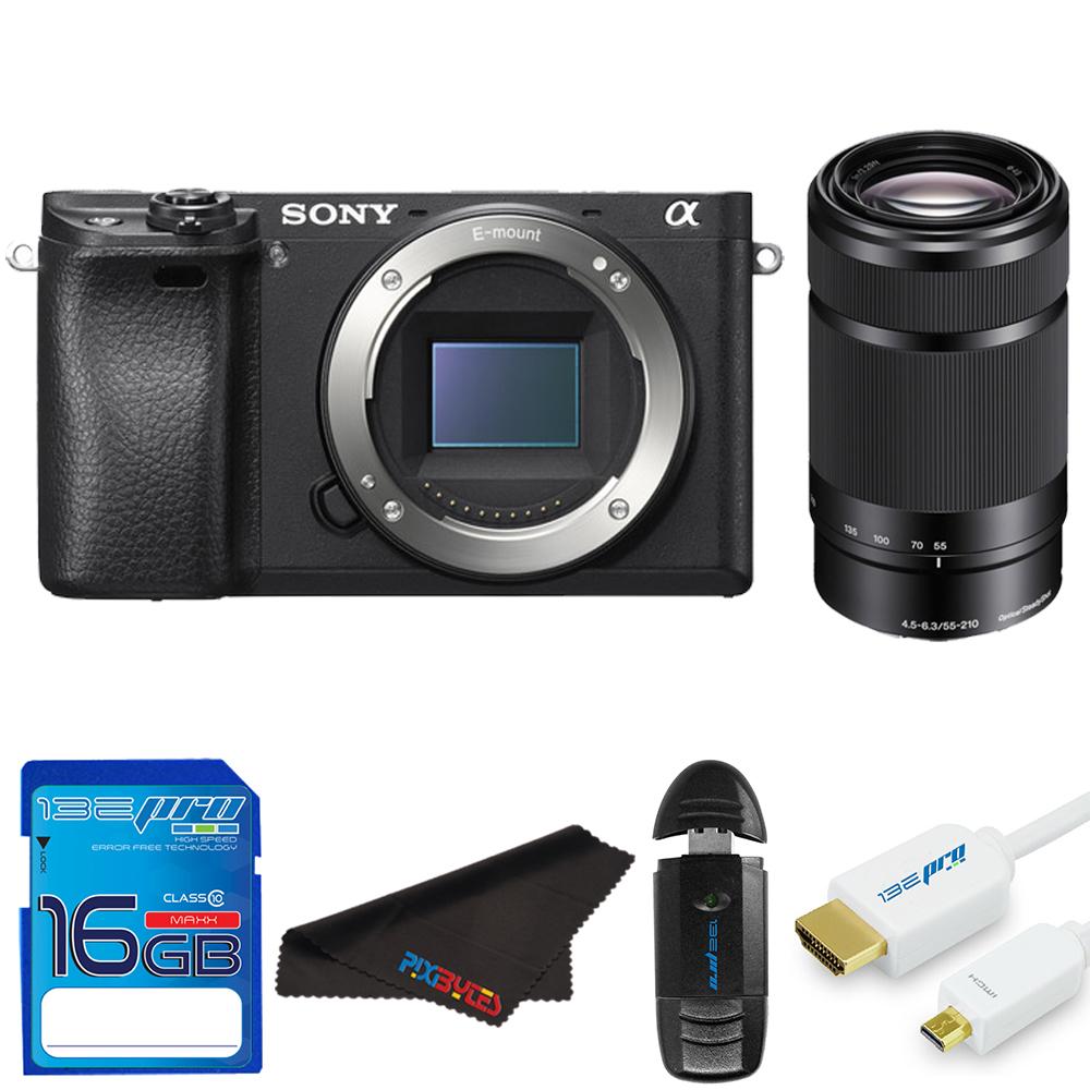 Sony Alpha a6300 Mirrorless Digital Camera + Sony E 55-210mm f/4.5-6.3 OSS Lens + SD Card + Pixi Starter Bundle Kit
