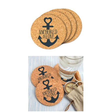Wedding Favor Coasters (Ducky Days 8417184 4 in. Dia. Anchored in Love Round Cork Coaster Wedding Favors - Set of)