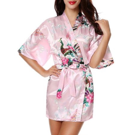 Womens Floral Silk Satin Kimono Robe Dressing Gown Wedding Babydoll Nightwear - Black Monk Robe