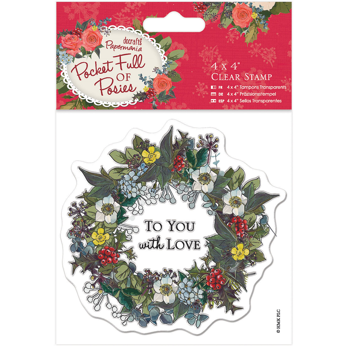 "Papermania Pocket Full Of Posies Clear Stamps 4""X4""-Wreath"