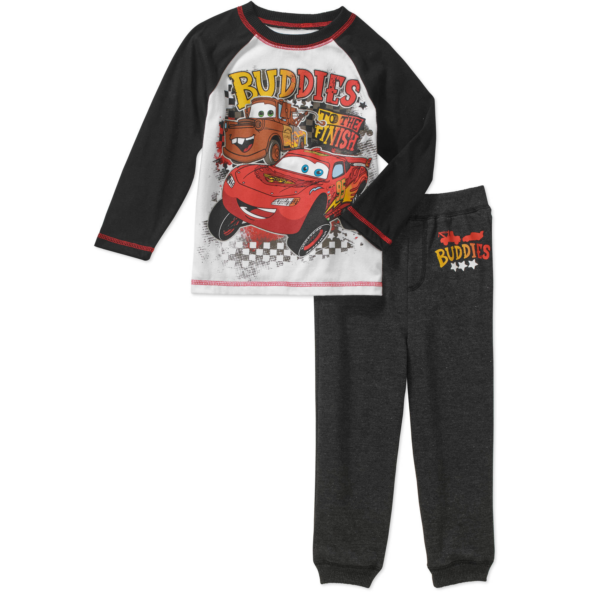 Disney Cars Toddler Boy Jersey Raglan Tee and Loop Terry Jogger Pants Outfit Set