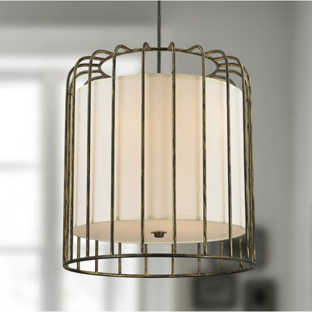 Brilliance Lighting and Chandeliers Cage Collection 9 Light Metal Cage Pendant Light in Antique Bronze Finish with Ivory Shade D24