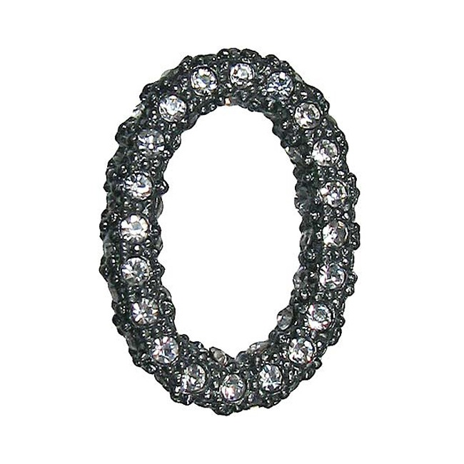 Beadelle Crystal 22x16mm Oval Pave Ring - Gunmetal Plated Pendant Link (1)