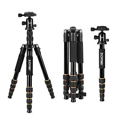 zomei aluminum portable tripod with ball head heavy duty lightweight professional compact travel for nikon canon sony all dslr and digital