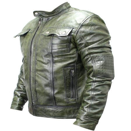 New Men's Genuine Sheep Skin Fashion Leather Jacket Green 2 buttoned chest