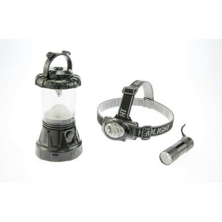 SE FL806-3BK 3-Piece Black Camping Light Set: 11-LED Lantern, 10-LED Headlamp & 9-LED (Se Mh1047l Illuminated Multi Power Led Head Magnifier)