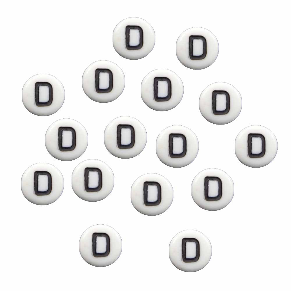 "100 White Acrylic Alphabet Letter ""D"" Coin Spacer, Loose Beads, 7x4mm Round"