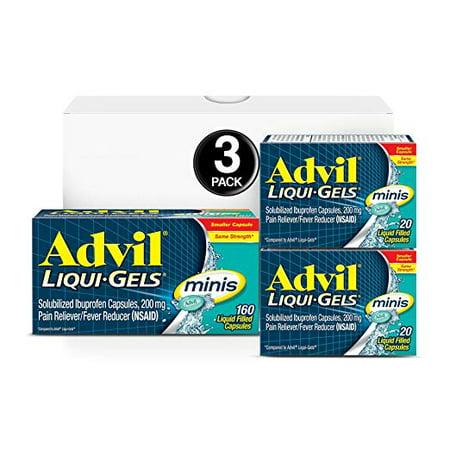 Advil Liqui-Gels minis 200ct (160 Count, 20 Count, 20 Count) Pain Reliever/Fever Reducer Liquid Filled Capsule, 200mg Ibuprofen, Temporary Pain
