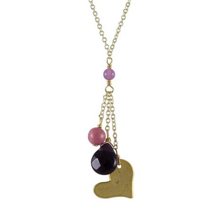 16 x 2 Amethyst Semi Precious Stones with Gold Heart & Gold Plated Brass Lariat Style Necklace