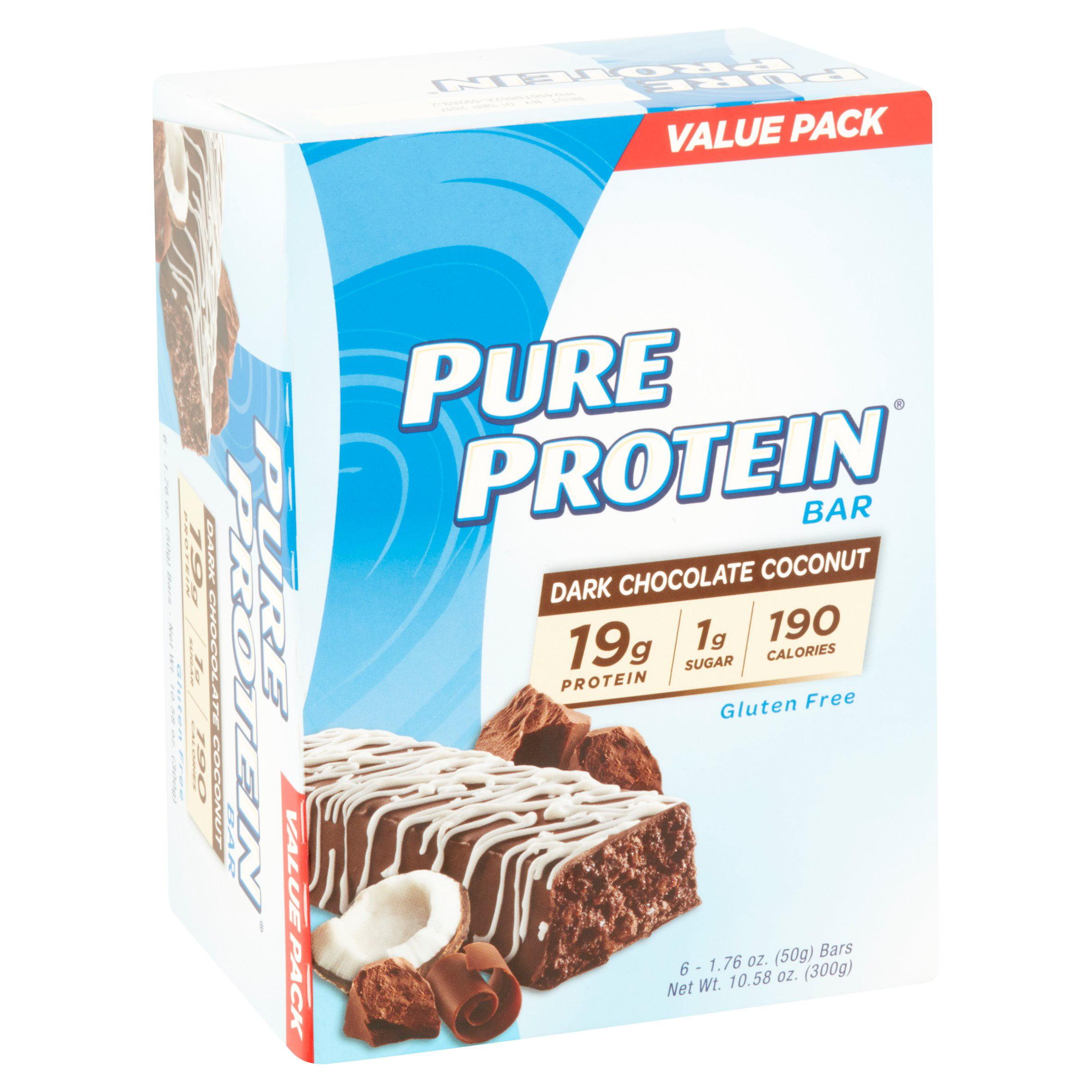 Pure Protein Bar, Dark Chocolate Coconut, 19g Protein, 6 Ct ...