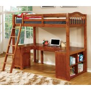 Furniture Of America Dutton Oak Multiple Storage Twin Loft Bed With Workstation