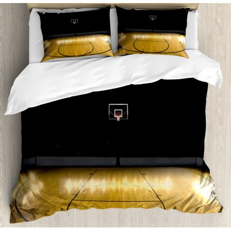 Teen Room Duvet Cover Set, Empty Basketball Arena Competition Game Winner Champion Success Theme, Decorative Bedding Set with Pillow Shams, Pale Coffee Black, by Ambesonne ()
