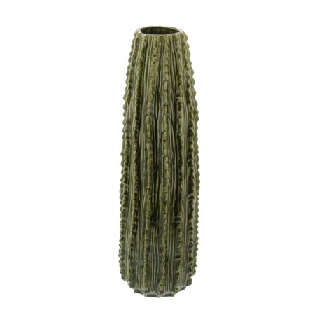 Ribbed Ceramic - Decmode Eclectic 20 x 6 inch textured ceramic ribbed cactus decor, Green